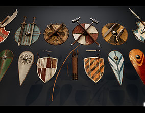 Medieval Viking Weapons and Shields 3D model