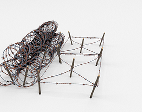 Low Poly Barb Wire Obstacle 3D model realtime fortification