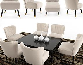 Arizona Mid Century Cocktail Chair Cofee Table 3D