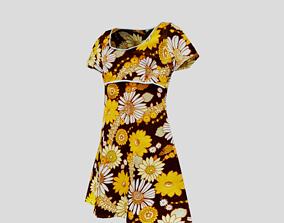 3D model Flowery 60s Dress