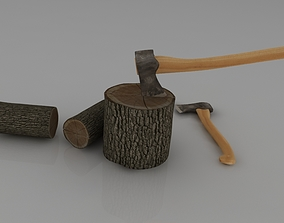 axe and wood 3D