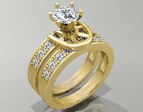 Gold Ring 3D print model diamond ruby