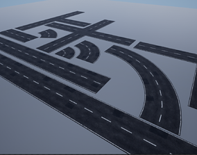 Modular Patched Road pack PBR 3D asset