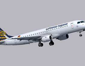 3D asset VR / AR ready Embraer E190 Lufthansa Regional