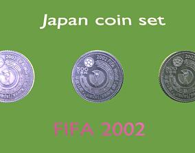 3D model 2002 Football coin set of Japan