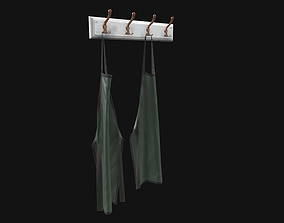 3D model Clothes rack with aprons