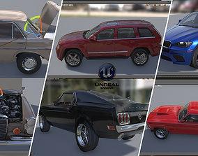 3D asset UE415 CAR SET Mustang Jeep Cherokee Benze 300 Sel