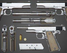 3D asset Colt M1911 A1 Chrome - PBR Game-Ready