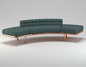 3D model Dark Green Leather Sofa