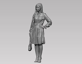 young girl in dress and high heels with a handbag 3D