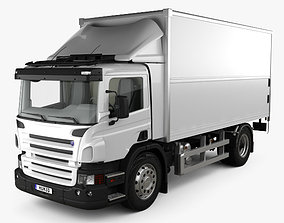 3D Scania P Box Truck with HQ interior 2011