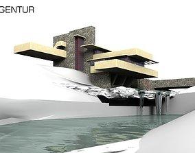 3D House Fallingwater Frank Lloyd Wright