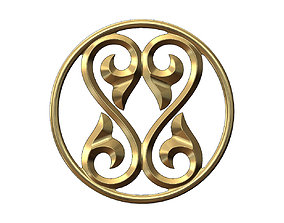 3D print model Double scroll floral ornament pendant and