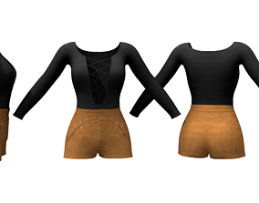 3D model Suede Shorts Lace Chest Top Outfit