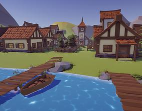 Low Poly Medieval Village 3D asset