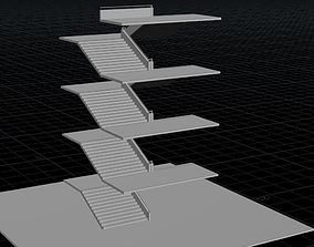 Houdini Stair Asset Low-poly 3D model