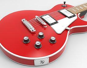 Red LP Electric Guitar 3D model