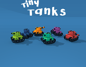 rigged Tiny Tanks - 1 tank with 6 colors - game-ready 3