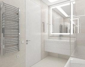 The cozy bathroom with illuminated 3D model