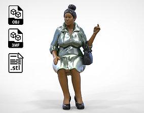 N2 Woman Sitting waiting or Spectator 3D printable model