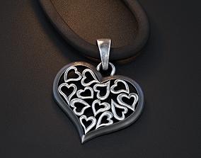 luxury 3D print model heart pendant
