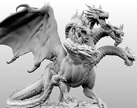 3D print model 4 Inch Base Five Headed Dragon
