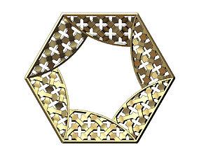 3D print model Hexagonal pattern moucharabieh pendant