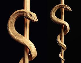 Medical symbol Asclepius 3d print model monster