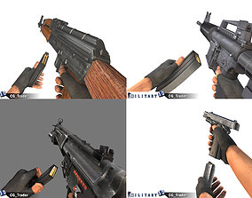 Military Weapon Pack With Animated Arm Lowpoly 3D Model
