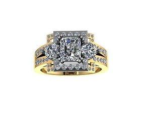 Ring 3 stone 2 tone 3D printable model