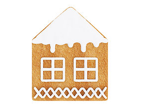 3D model House shaped gingerbread cookie