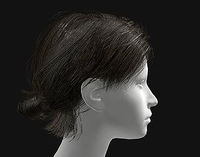 realtime 3D Hair Female Short Ponytail Hairstyle