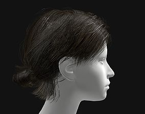 Female Short Ponytail Hairstyle 3D asset