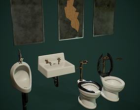 3D asset low-poly PBR Retro Public Toilet Set
