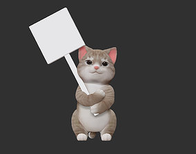 3D print model Cat - Hold Sign welcome