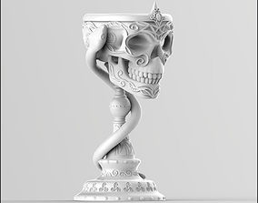 3D print model Scull goblet V2 with snake