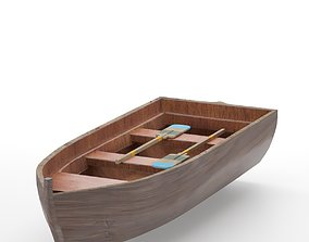 Rowing boat 3D model game-ready