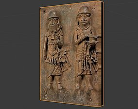 Benin Brass Plaque 3d model low-poly