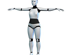 3D Cyborg Robot Girl Female Bot model realtime