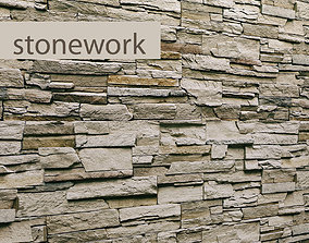 Stone wall slate 3D model travertine
