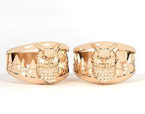 3D printable model ring owl wood