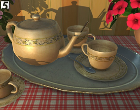 Tea and Coffee service 3D asset