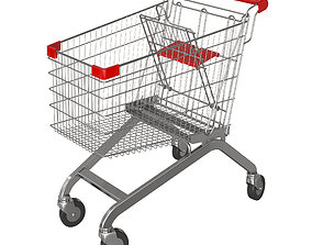 products Red shopping cart 3D