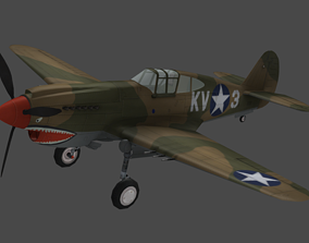 FLY Game-Ready - Curtis P-40 Warhawk - Airplane 3D model