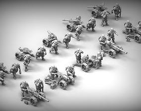 Feudal guard Heavy Weapons teams 3D print model miniature