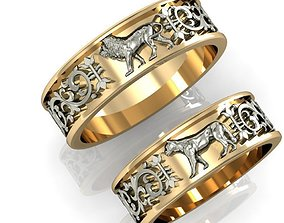 3D print model engagement rings lion and lioness