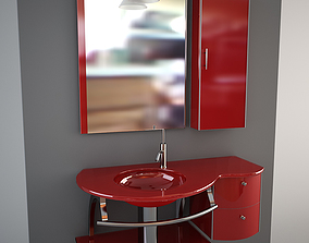 3D Glass wash-basin with cabinets mirror and lamp - red