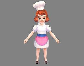 Cartoon female chef 3D model