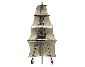 3D model White Sailing Ship Mast 2