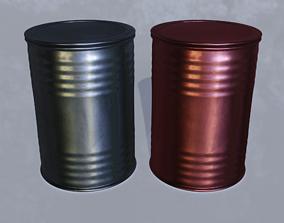 Barrel aluminum 3D asset low-poly